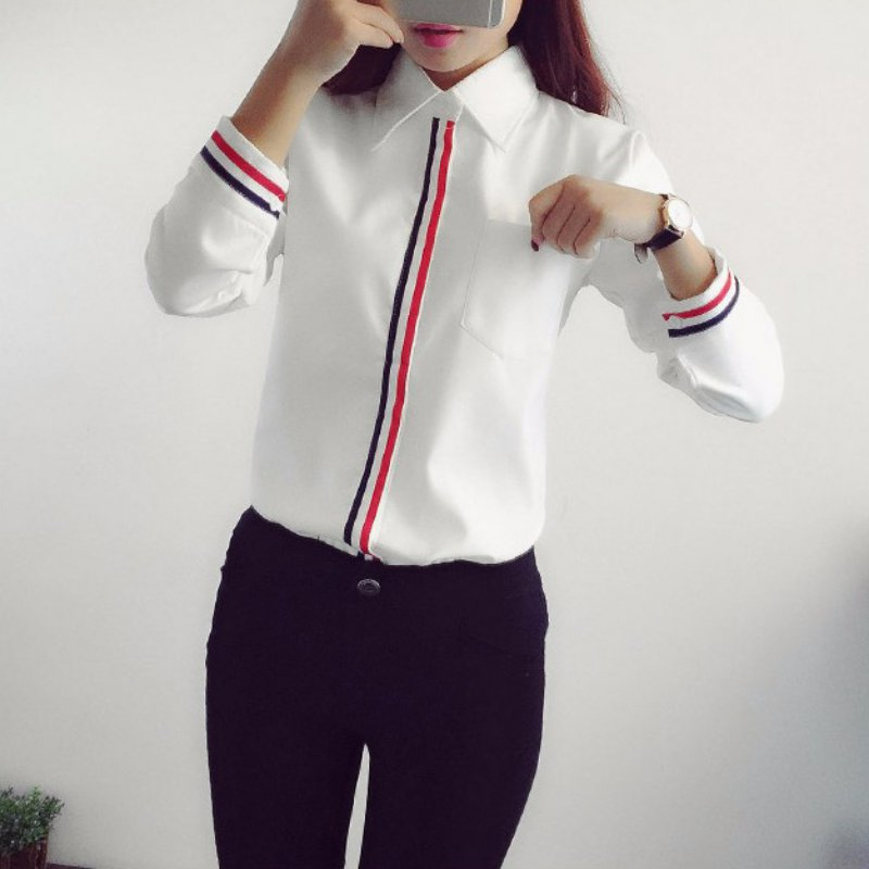 Spring Summer Women Work Wear Shirt Femininas Formal Button Down Ladies Blouse Long Sleeve Formal Office White Shirts