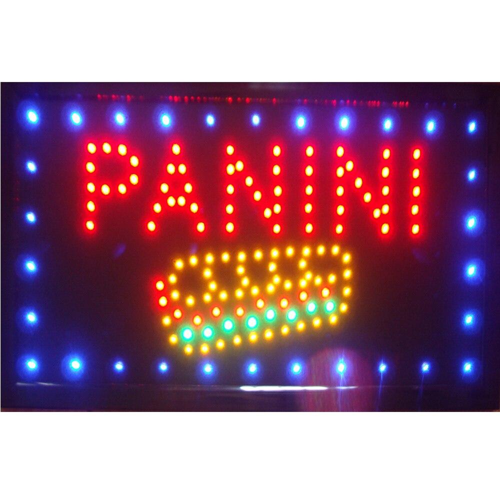 Led pizza panini magasin ouvert signe néon éclairé signe vente directe graphique personnalisé 10X19 pouces intérieur Ultra lumineux