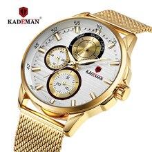 цена на KADEMAN Male Watch Luxury Fashion Quartz Wristwatch Date Week Display Mesh Mens Watch Stainless Steel Waterproof Erkek Kol Saati
