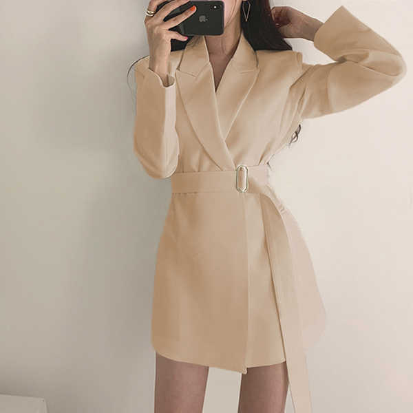 LLZACOOSH Moda 2019 Kadın Ceketler Vintage Sonbahar Siyah Bej Ofis Bayanlar Sashes Bölünmüş Kollu Ceket Rahat Çalışma Mont