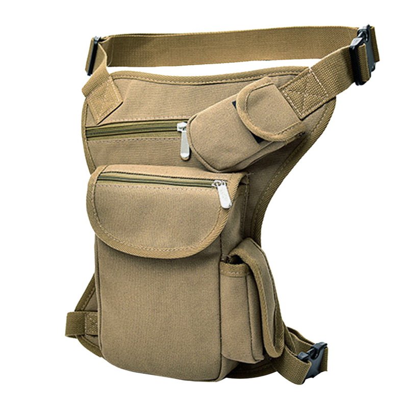 Men Military Tactical Travel Riding Motorcycle Bag Portable Waist Messenger Bag Canvas Drop Thigh Leg Multi- Pouch