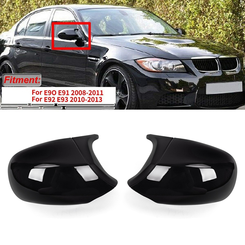 Gloss Black M3 Style Rear View Mirror Cover Cap Replacement for BMW 3 Series E90 E91 E92 E93 LCI Facelifted 2010-2013 image