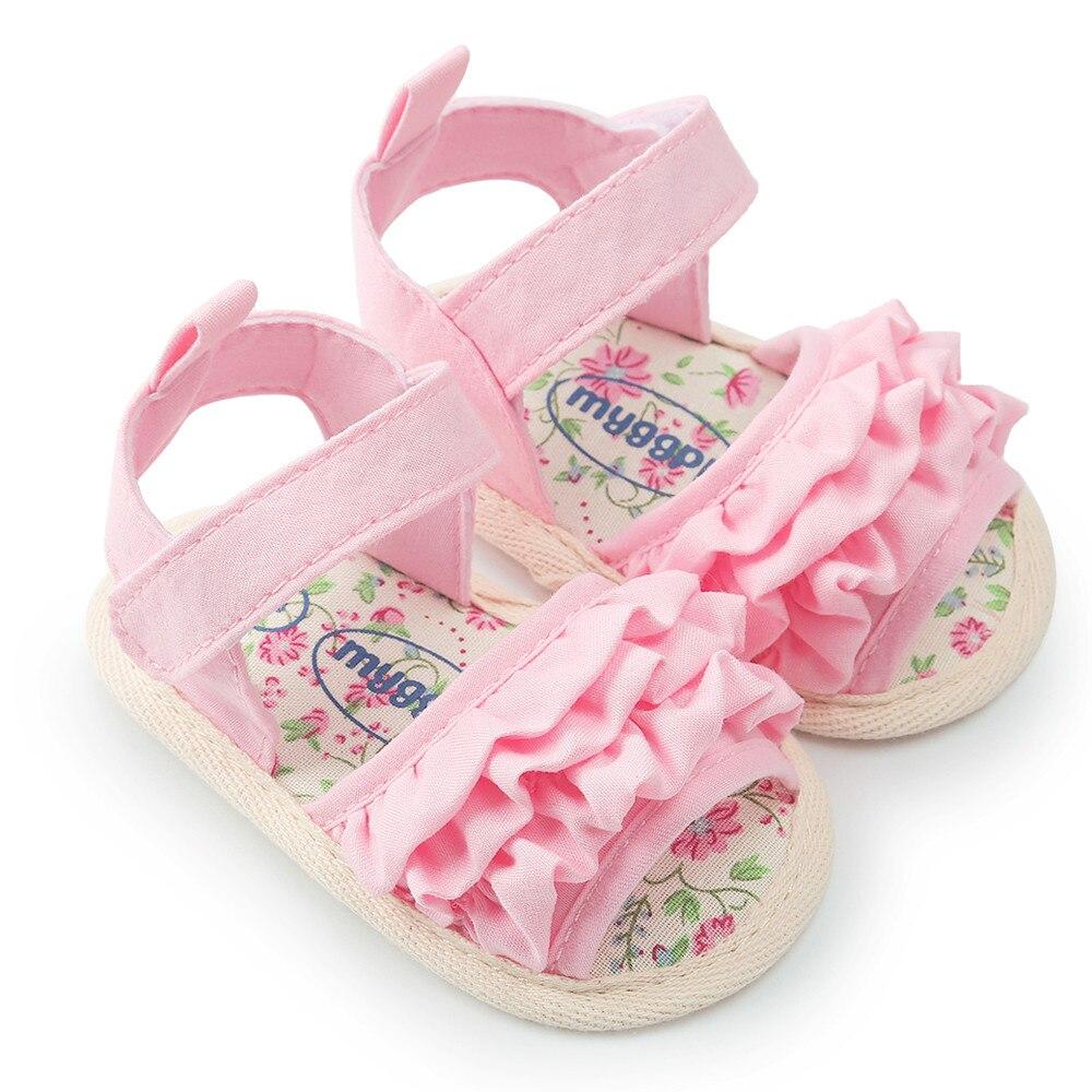 Сандалии для новорожденных, Летние повседневные босоножки для детской кроватки, с оборками и цветами, # W5