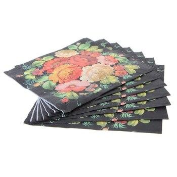 New High-grade Vintage Black Flower Paper Napkins Cafe&Party Tissue Napkins vintage printed rose flower dragonfly paper napkins for event
