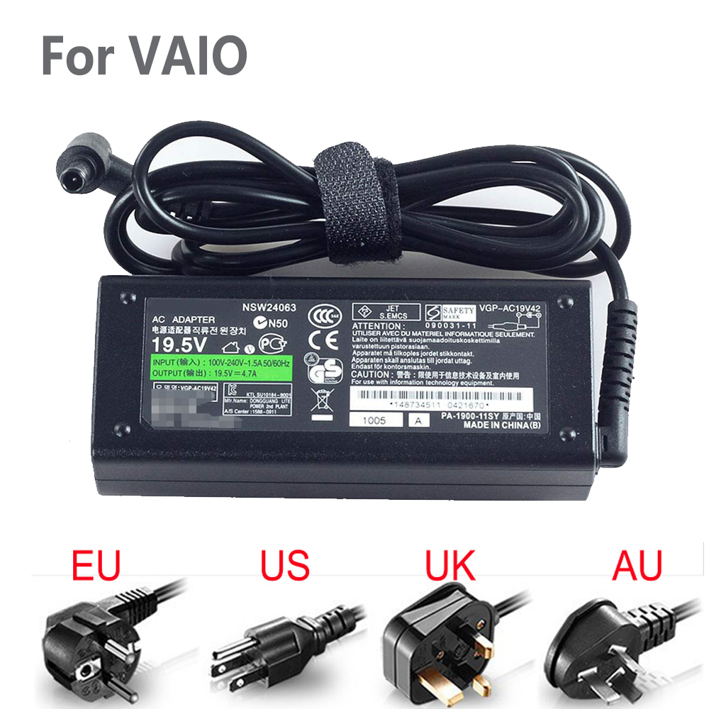 19.5V 4.7A 90w AC Adapter Battery Charger For Sony Vaio VGN Series ,Power Cord Included