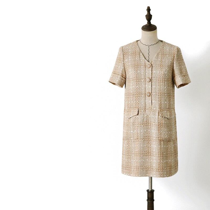 Marque designer 2019 été femmes boutons col en v à manches courtes tweed robes élégant plaid armure robe camel y362