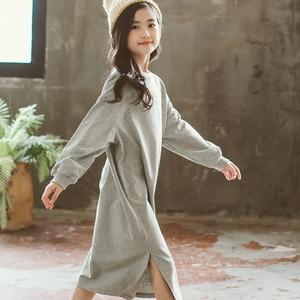 Image 4 - Spring Long Sleeve Letter Print Dresses for 3 16Yrs Girls T Shirt Dress Long Hoodie Dress Teens Pullover Moletom Feminina CA252