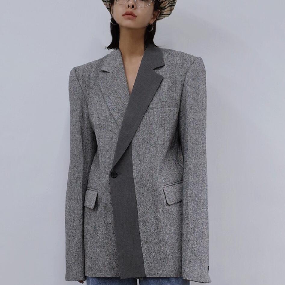2020 Spring New Fashion Ol Patchwork Blazer Women Notched Loose Handsome Suit Jacket