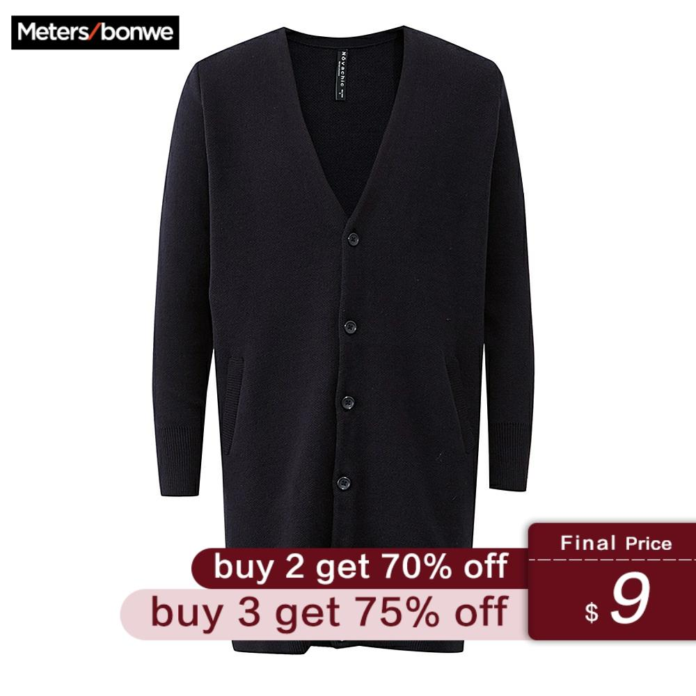 Metersbonwe Knitted Long Male Cardigan Warm Basic Sweater Men Autumn Smart Casual Solid Color Clothing Fashion Cardigan