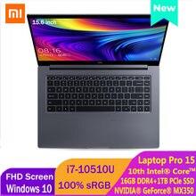 Xiaomi Mi Laptop 15.6 pollici Pro aggiornamento Notebook MX350 Intel Core i7-10510U 100% sRGB FHD schermo tastiera retroilluminazione Computer