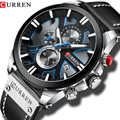 Часы CURREN Мужские с хронографом, Спортивные кварцевые наручные, с кожаным ремешком, модный подарок для мужчин, 2020