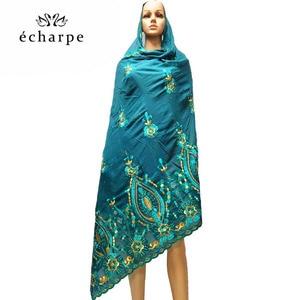 Image 3 - 새로운 아프리카 여성 스카프 이슬람 여성 큰 자수 면화 스카프 wharf 타월과 편안한