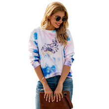 Women Sports Sweaters Loose Fitness Top Girl Shirts Floral Running Top Female Workout Sportswear Tie Dye Quick Dry S-XXL(China)