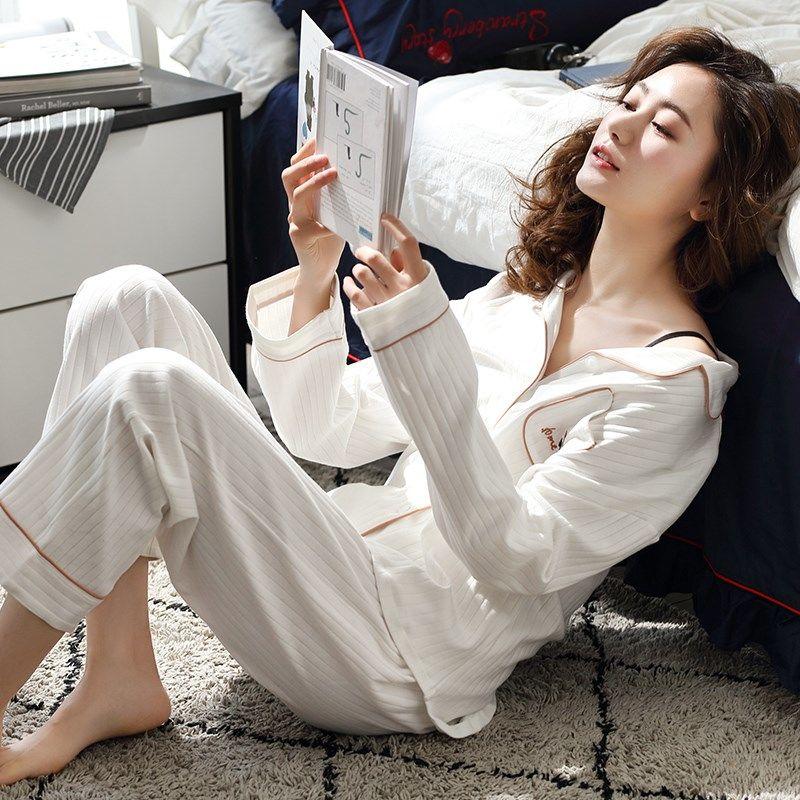 Autumn Spring Women Pajamas Sets  Pyjamas 100% Cotton Clothing Long Tops Set Pijama Female Pijamas Mujer Sleepwear
