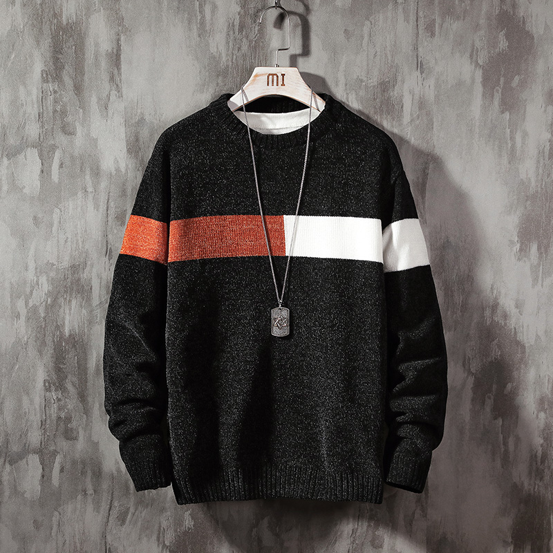 2019 New Sweater Men Long Sleeves Autumn Winter Pullover Knitted O-Neck Plus Asian Size 5XL