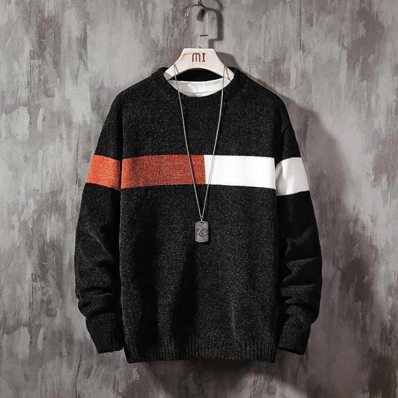 2020 nowy sweter męski z długim rękawem jesienny sweter zimowy z dzianiny O-Neck Plus rozmiar azjatycki 5XL
