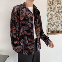 2019 Autumn And Winter New Palace Retro Style High Quality Velvet Silk Woven Lazy Personality Thick Shirt Male Blue / Gold M 2XL