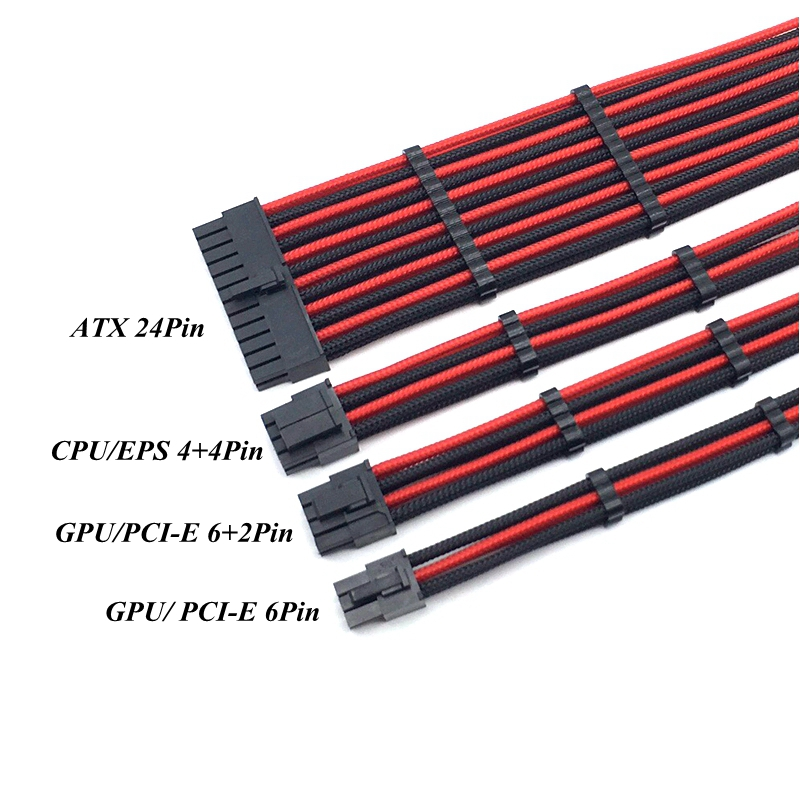 Cable-Kit-Mixed Power-Extension 24pin Color-Sleeved PCI-E 6pin Cable. 4-ATX EPS