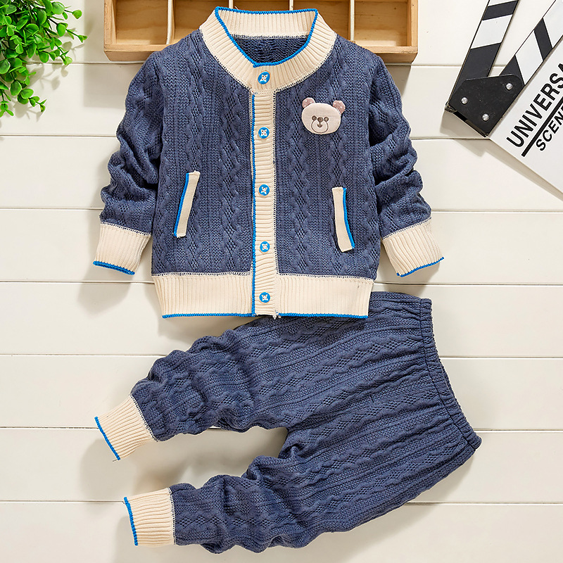 Baby Clothes Knit Sweater Autumn Winter Cable School Uniform Baby Sets  Casual Classic Single Breasted Boy Girl Outfits