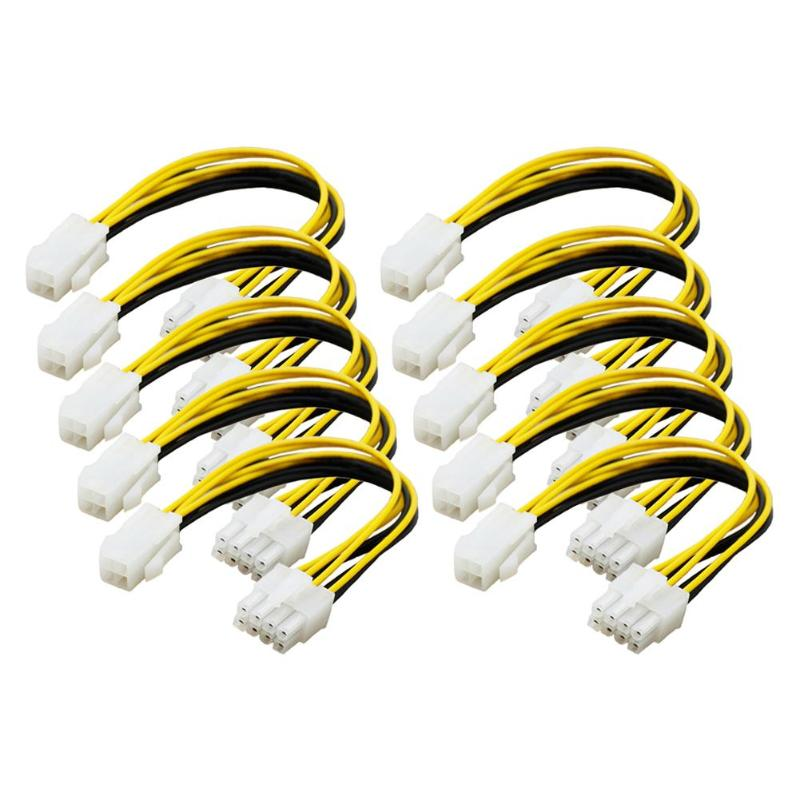 5pcs 10pcs 4 Pin Male to 8 Pin Female <font><b>CPU</b></font> Power Converter Cable Lead <font><b>Adapter</b></font> 4Pin to 8pin computer Connector Extension Cable image
