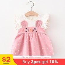 Melario bebê menina vestido novo verão crianças vestidos bonito amor impressão orelhas de coelho roupa do bebê infantil roupas para 6m 24m