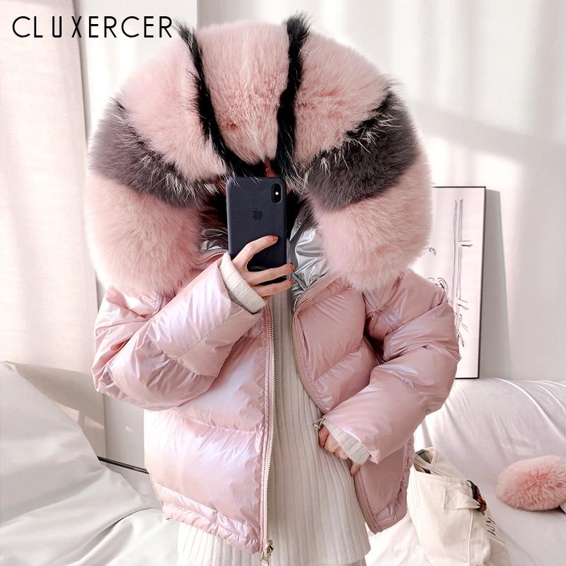 Real Fox Fur Collar 2019 Winter Jacket Women Loose Short   Down     Coat   White Duck   Down   Jacket Thick Warm Female Jacket Casaco