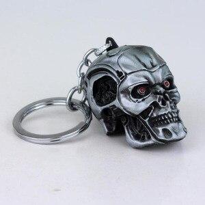 Image 5 - 10 unids/lote joyas de plata joyería de moda colgante película el exterminador esqueleto llavero de máscara calavera llavero para hombres llavero de coche