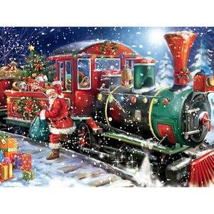 5D Diy Daimond картина крестиком Санта Клаус и поезд 3D Рождественская Алмазная вышивка круглый горный хрусталь Бриллиантовая картина подарки
