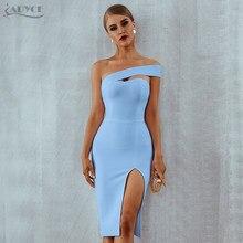 Adyce – robe moulante à bandes pour femmes, asymétrique épaule dénudée, sans bretelles, blanche, bleue, Sexy, élégante, noire, célébrité, robe de soirée, été, 2021