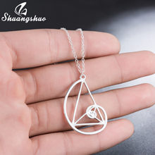 Spiral with Triangle Necklace Fibonacci Pendant Ratio Psychology Necklace Science Biology Jewelry Fashion Math Teacher Gifts(China)