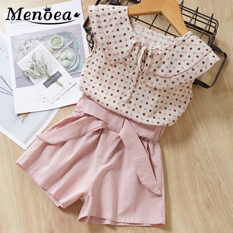 Menoea Girls Clothing Sets 2020 New Style Summer Children Clothes Cute  Dots Lace + Bow Short Pants 2pc Kids Clothes Sets