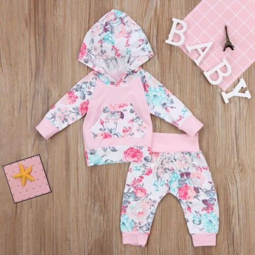 Vêtements pour nouveau-né fille   Ensemble dautomne manches longues, pantalon à capuche, motif Floral, en coton, 2 pièces