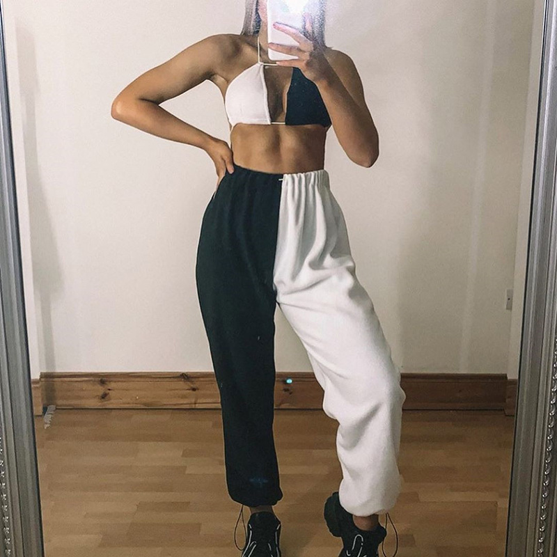 Focal20 Streetwear Black and White Hit Color Women Jogger Pants Elastic Waist Loose Female Trousers Casual Spring Lady Bottoms