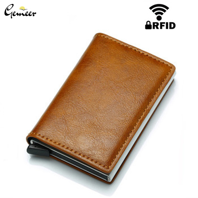 Gemeer RFID Credit Car Holder Anti-Theft Automatic Wallet Card Case Men Mini Leather Male Purse Foreign Trade Credit Card