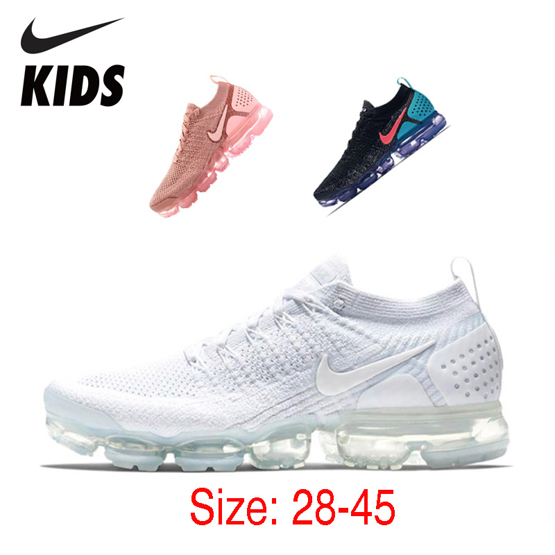 Nike Air Vapormax Flyknit 2 Kids Running Shoes Breathbale Original Air Cushion Children Shoes Outdoor Sports Men Sneakers