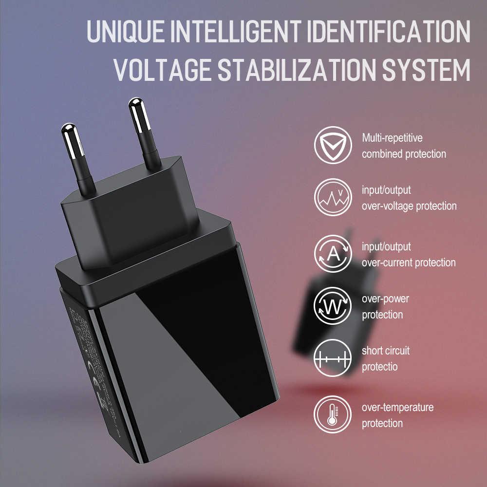 Jellico QC 3.0 3 منفذ USB شاحن الهاتف LED عرض الاتحاد الأوروبي التوصيل مجموع ماكس 3A الذكية سريع شاحن موبايل الجدار شاحن آيفون باد