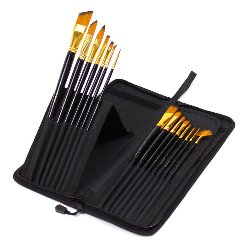 15pcs/set Wood Handles Oil Painting Watercolor Paint Brush Different Shapes Pen Lightweight Gouache With Carrying Case Nylon