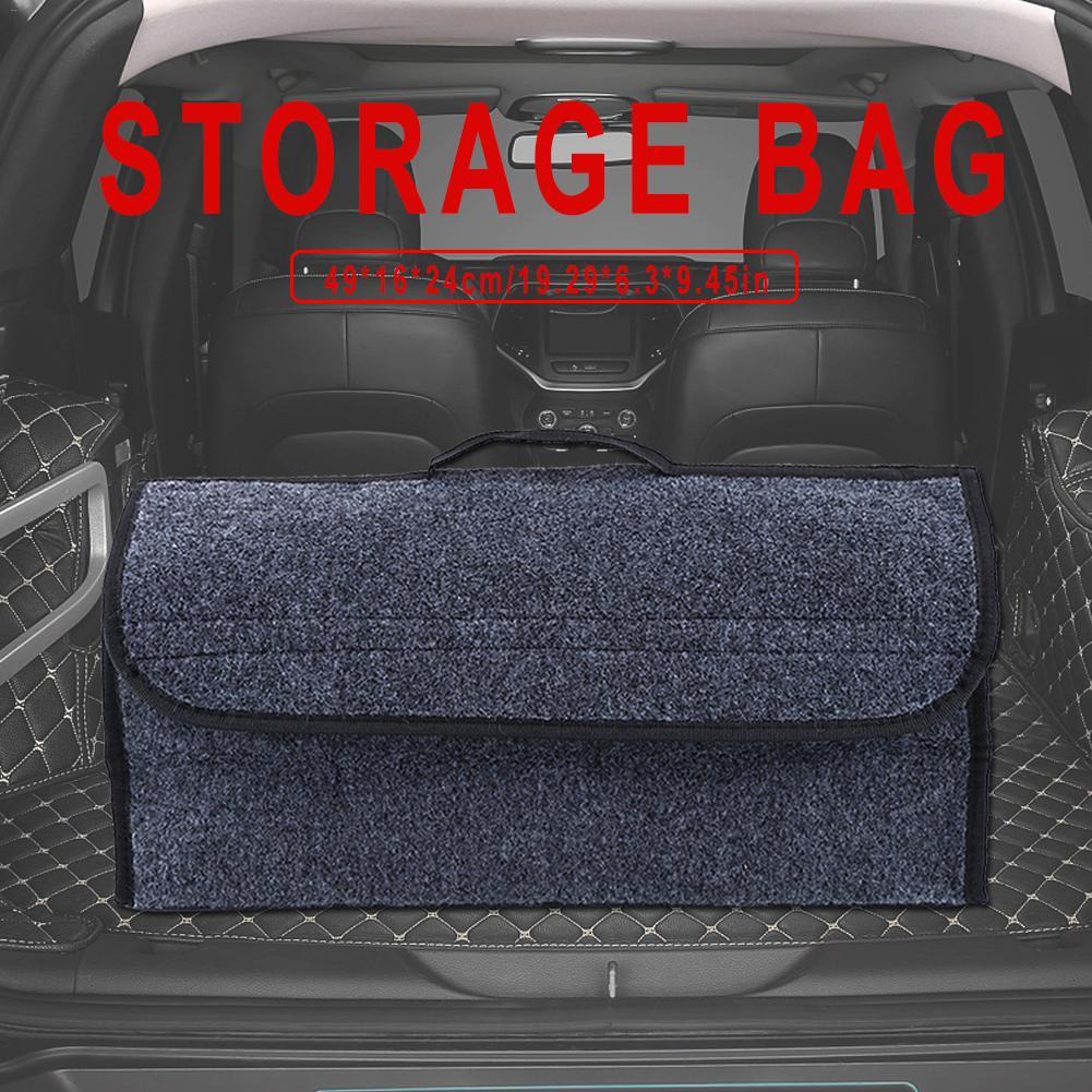 Portable Car Rear Boot Organizer Multi Carpet Storage Luggage Bag Hook Loop Case