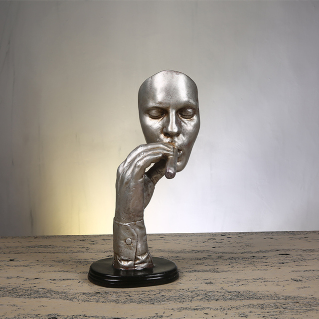 Resin Smoking Man Statue Retro Abstract Sculpture Creative Meditator Smoker Figurines Livong Room Home Decoration Ornaments D035 3