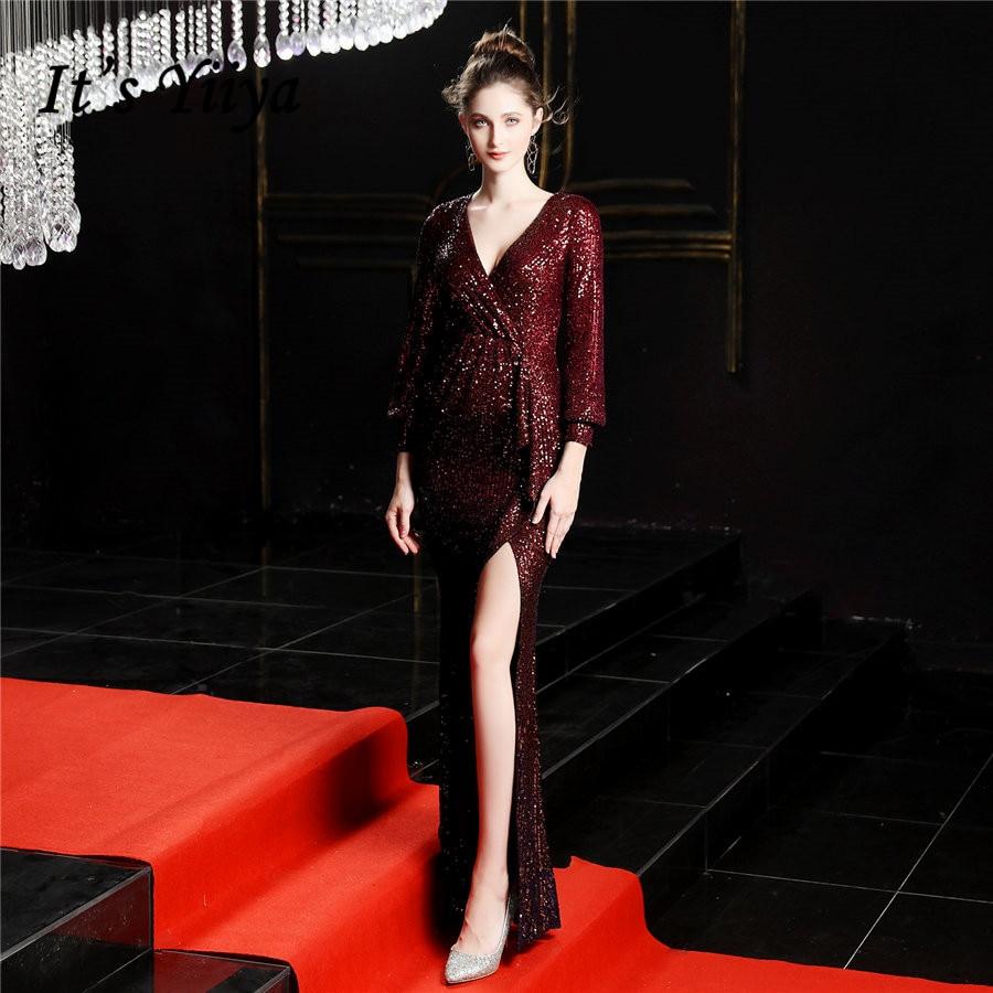 It's Yiiya Evening Gown V-Neck Sequined Zipper Long Sleeve Evening Dress Sexy Split Mermaid Floor-Length Robe De Soiree DX249