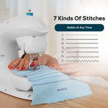 Portable Sewing Machine Household Multifunction Pedal Straight Line Speed Crafting 7 Stitches Electric Sewing Machine With LED