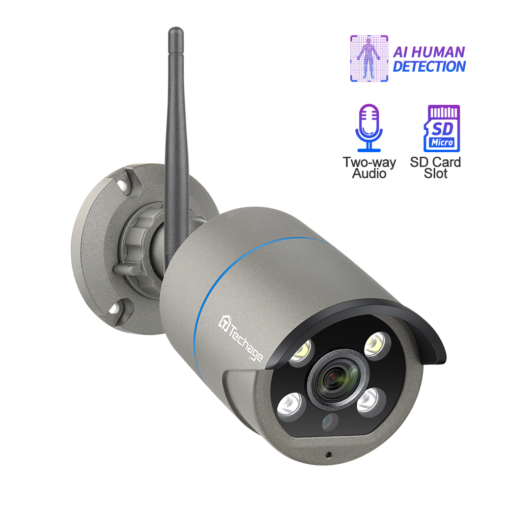 Techage ICsee 1080P SD Card Record Wireless Camera Wifi 2-Way Audio Sound Video Outdoor Night Vision Security CCTV Surveillance