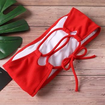 2020 New Bikini Women Swimwear High Waist Strapless Sexy Bikini Pure Color Women Swimsuit Padded Bathing Suit Monokin 4