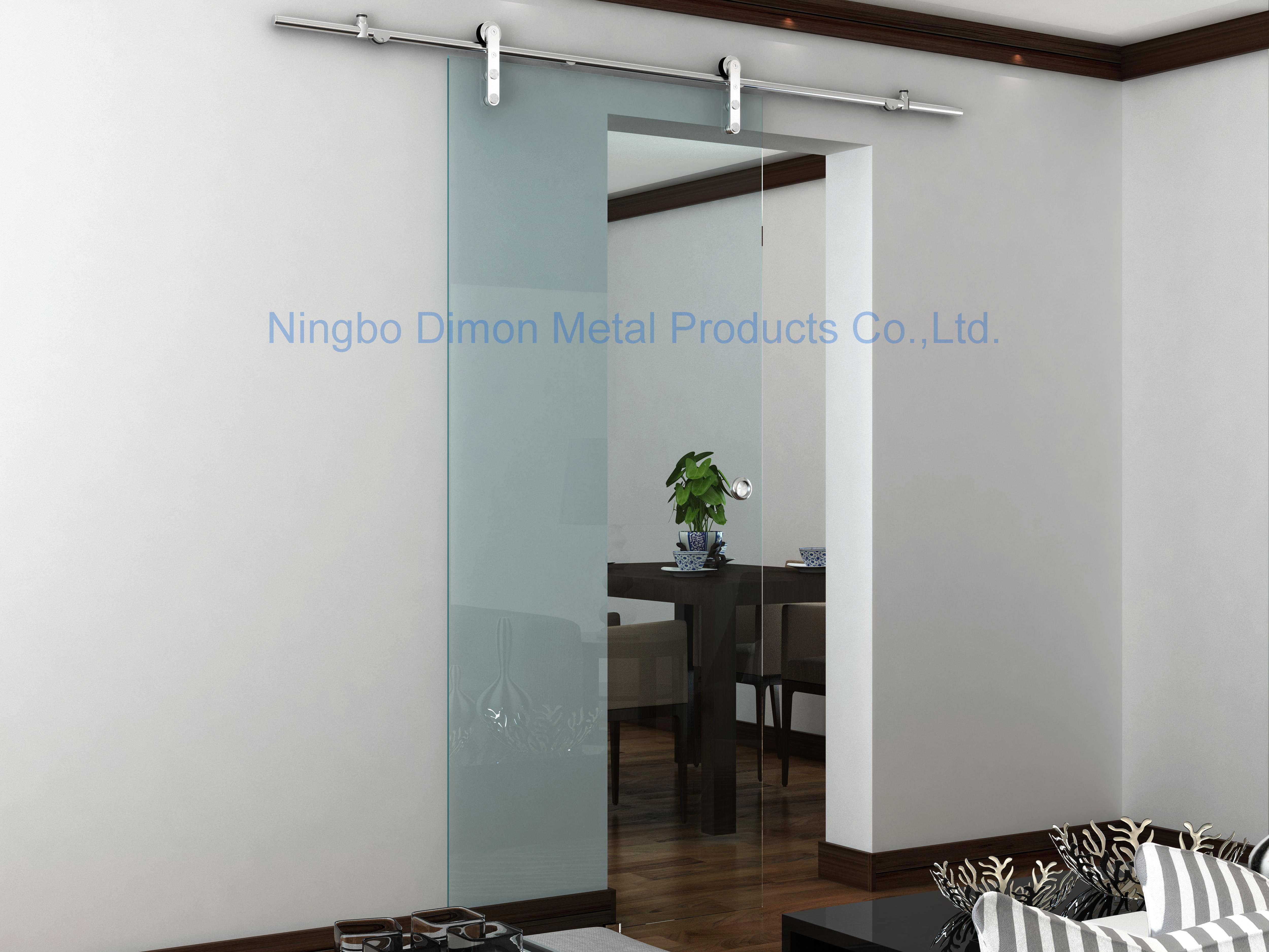 Free shipping Dimon high quality hot sell stainless steel 304 satin glass sliding door hardware DM-SDG 7002 without bar image