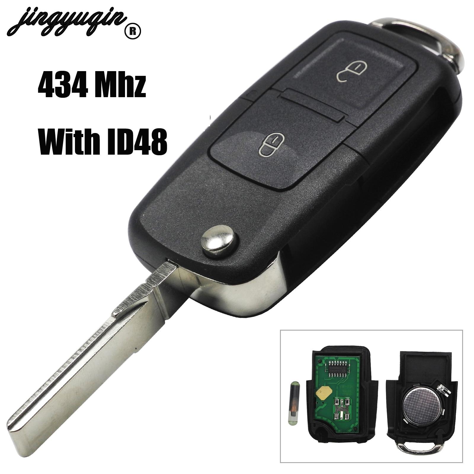 Пульт дистанционного управления jingyuqin 2/3/4, брелок с чипом ID48 434 МГц для VW SEAT Altea/Ibiza/Leon/Toledo T5 1J0 959 753 AG