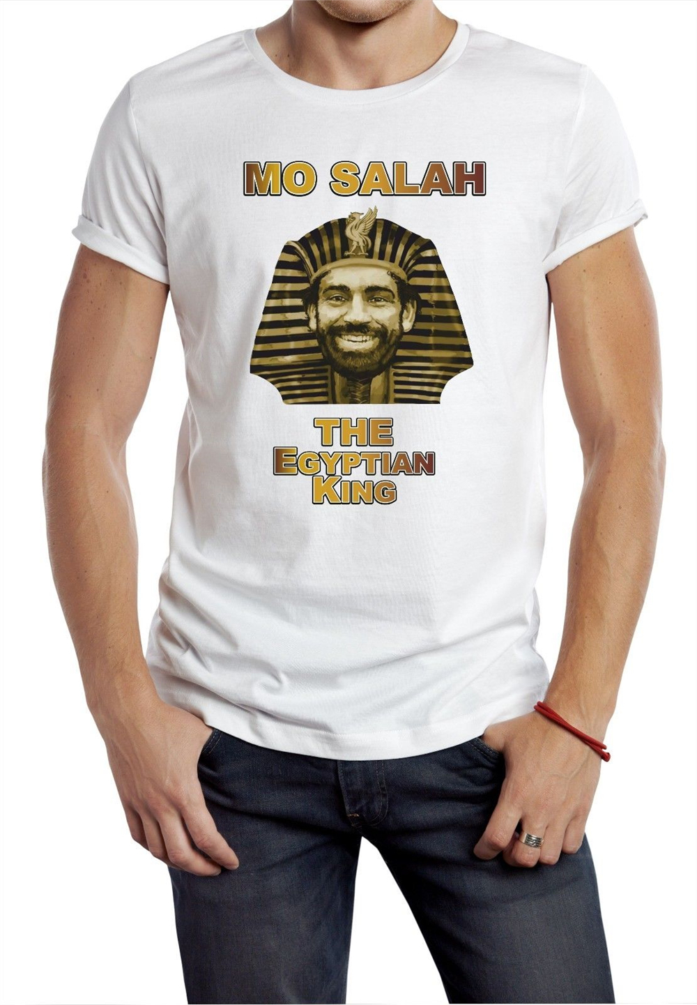 Mo Salah T-shirt Egyptian King Pharaoh Gift Made In Liverpool Tee grey
