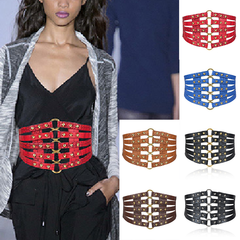 Hot Tie Wide Belts Belt Elastic Slim Corset Body Shaper Black Faux Leather Retro Punk Rivet PU Waist Belt Cummerbund Waistband