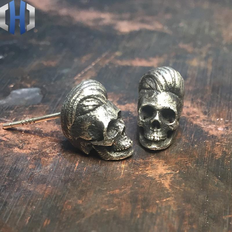 Original Jewelry 2019 New Personality Earrings 925 Sterling Silver Hypoallergenic Skull Silver Earrings