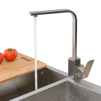 цена на SUS 304 Stainless Steel Square Type Kitchen Faucet Water Sink Mixer