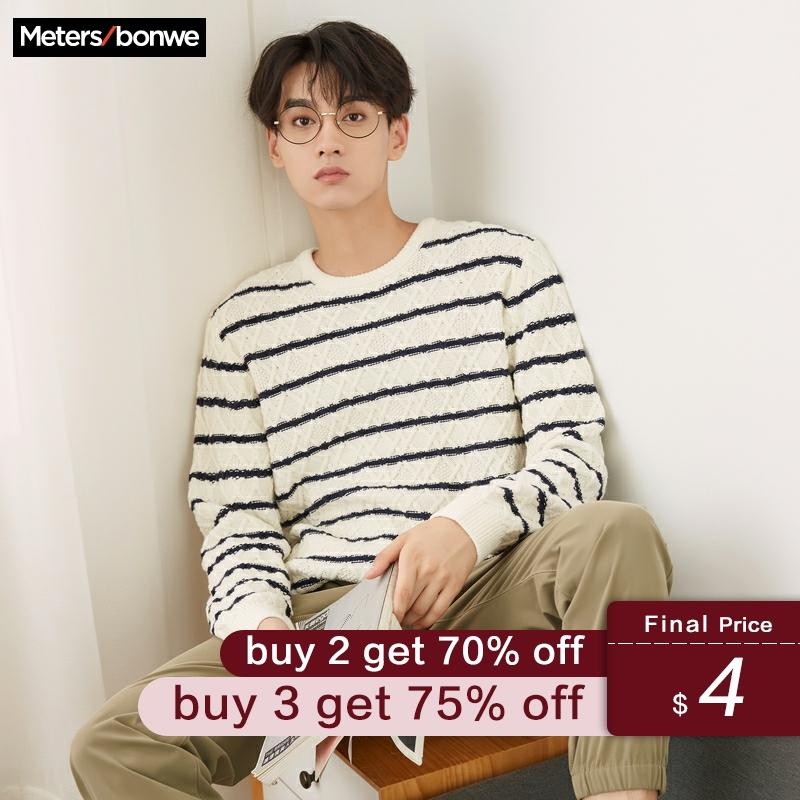Metersbonwe Brand Winding Striped Sweater Winter 2019 Autumn Fashion Long Sleeve Knitted Men Cotton Sweater High Quality Clothes